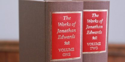 set and binding image works of jonathan edwards no dustjacket brown clothbound red accents gold lettering